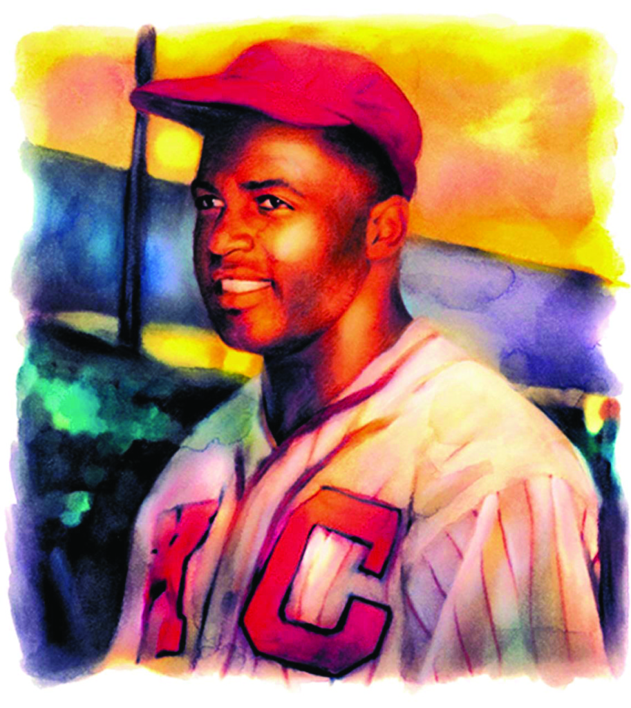 Michael Hogue color illustration of Jackie Robinson, second baseman Negro Leagues 1945; Hall of Fame 1962. The Dallas Morning News 2004/ MCT Campus.